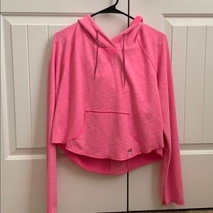 Pink cropped Under Armour hoodie